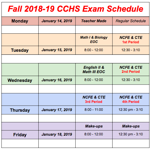 2018 Fall Exam Schedule