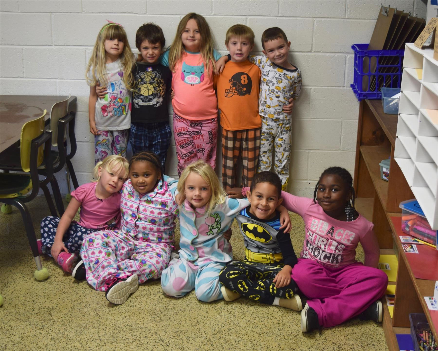Group of students on Pajama Day
