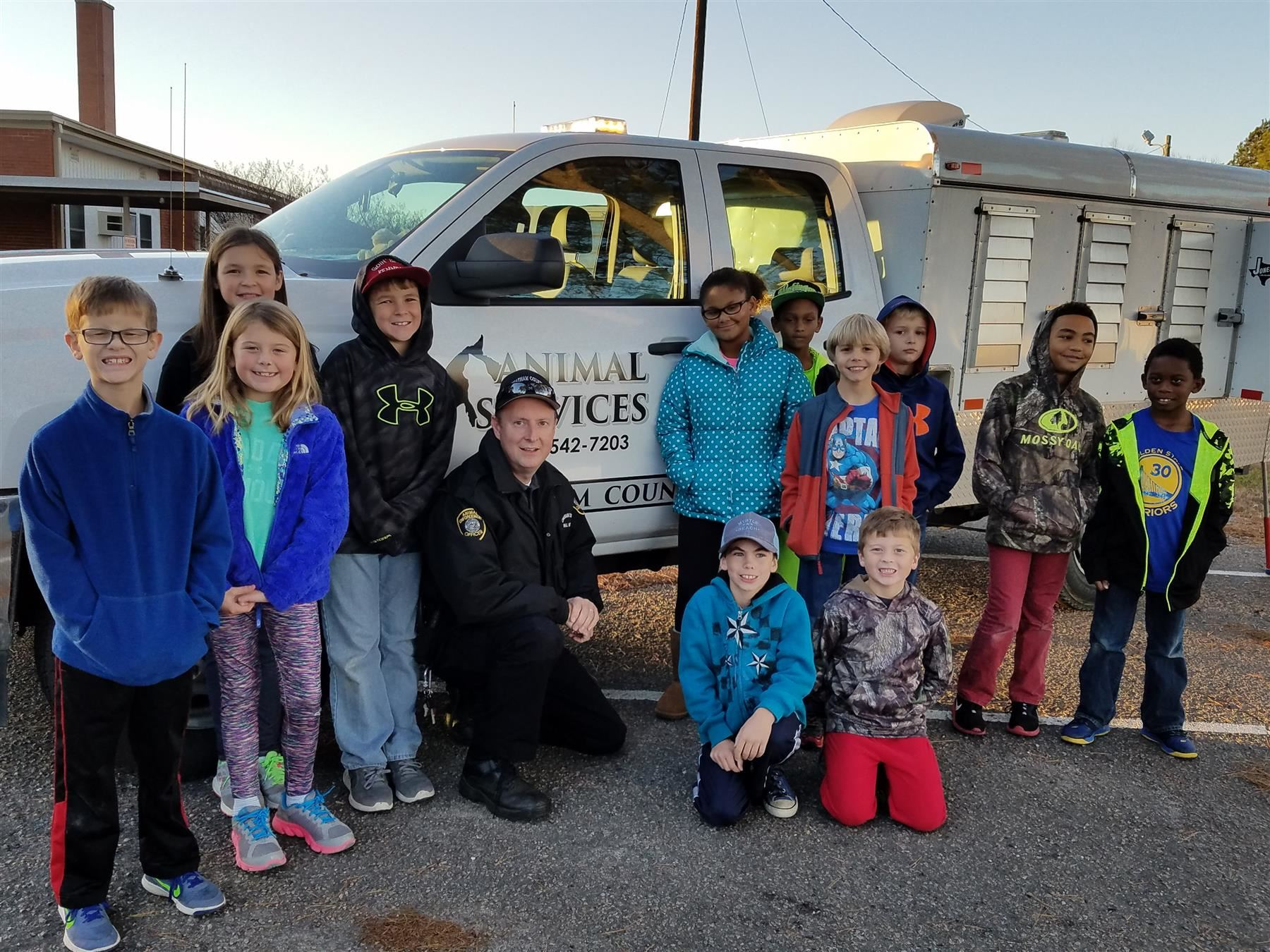 YMCA students with Animal Control Truck