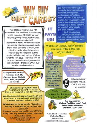 Ways you can use gift cards to help the school