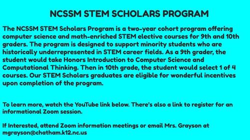 NCSSM STEM Scholars Program Info