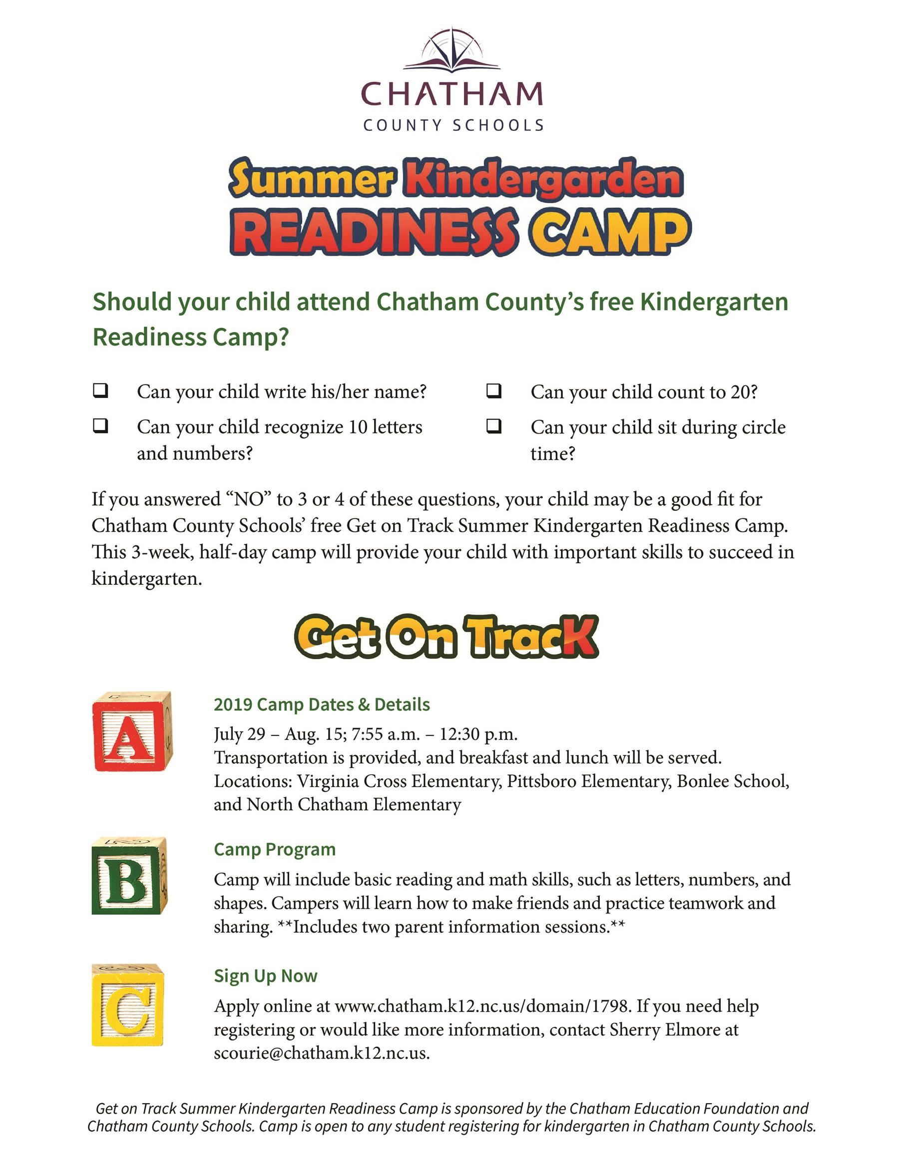 Summer Learning Opportunities / Kindergarten Readiness Camp