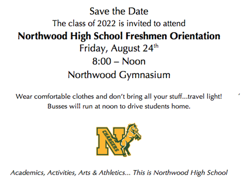 Freshmen Orientation Save the Date