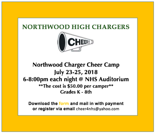 Contact cheer4nhs@yahoo.com for cheer camp information.
