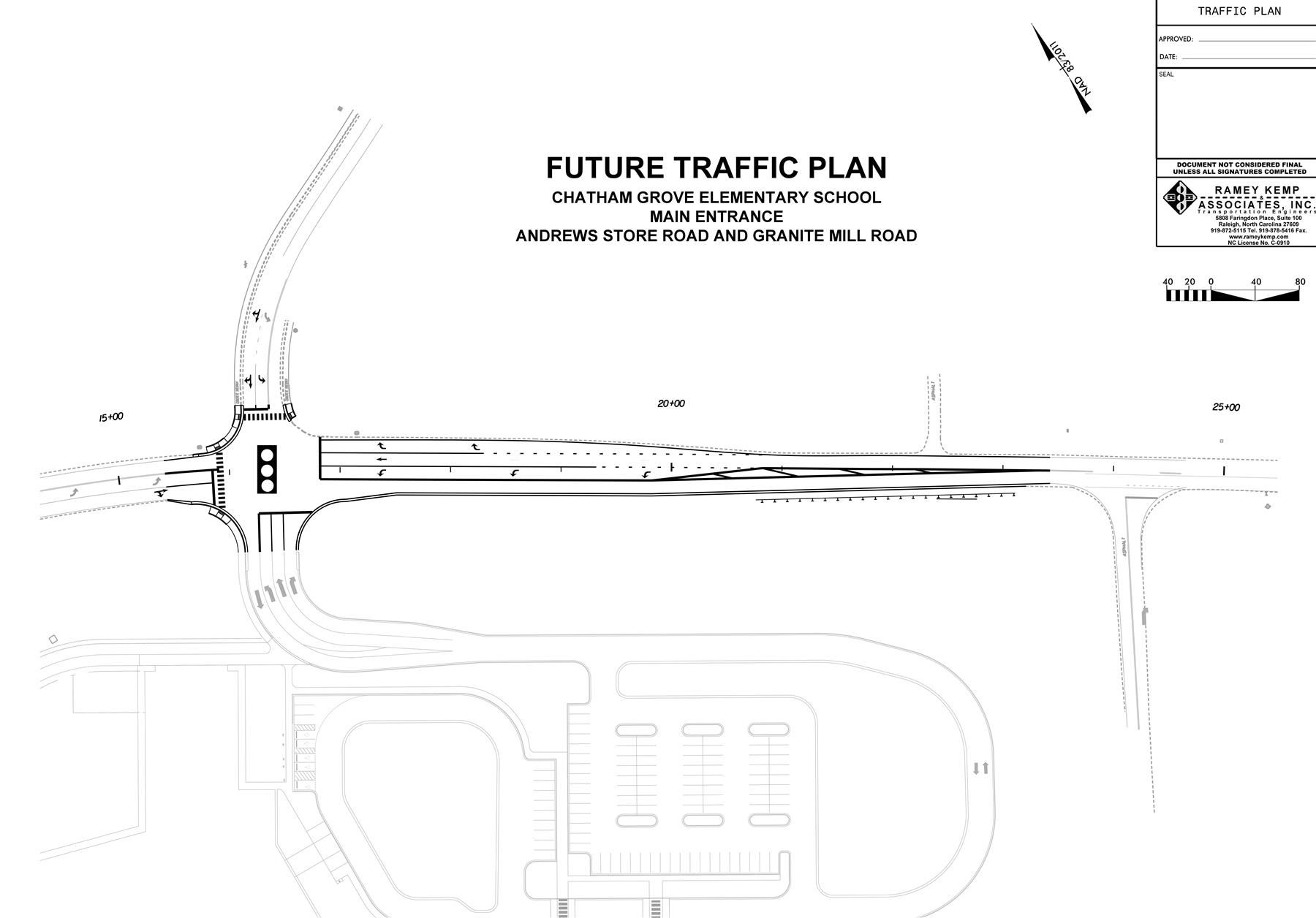 This is the pending traffic plan for Andrews Store Road, where Chatham Grove Elementary School is scheduled to open in  2020.