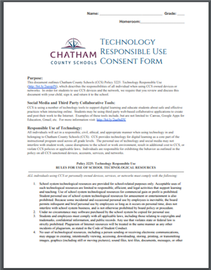 Chatham County Schools Technology Responsible Use Consent Form