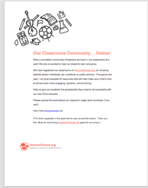 Image of Donors Choose Information Letter