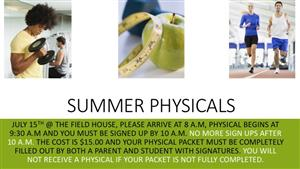 JMHS Summer Sports Physicals July 15, 2017 8:00 a.m.