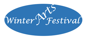 "blue oval with text: ""Winter Arts Festival"""
