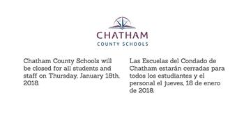 Chatham County Schools Closed January 18th, 2018
