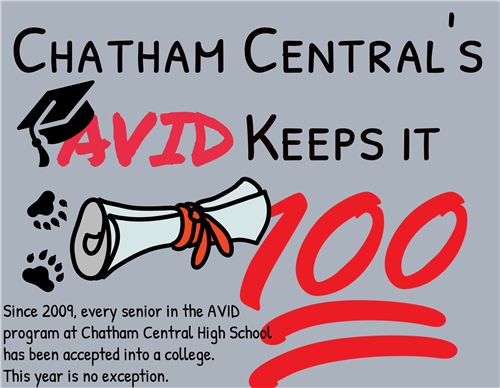 Every Chatham Central High School AVID senior has been accepted into a college.