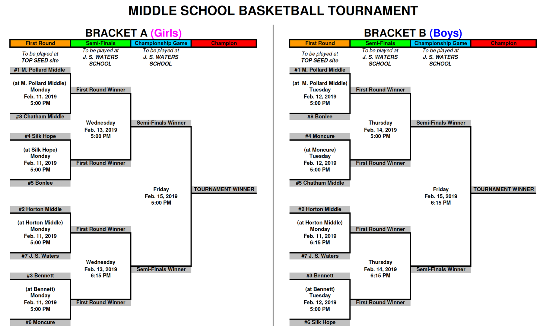 2019 middle school basketball bracket