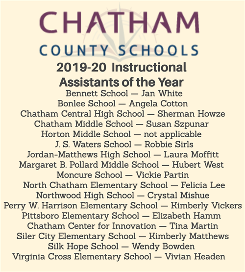2019-20 Chatham County Schools Instructional Assistants of the Year