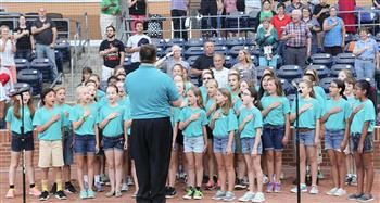 The Mariners out of Chatham County Schools  led the national anthem before a Durham Bulls games.