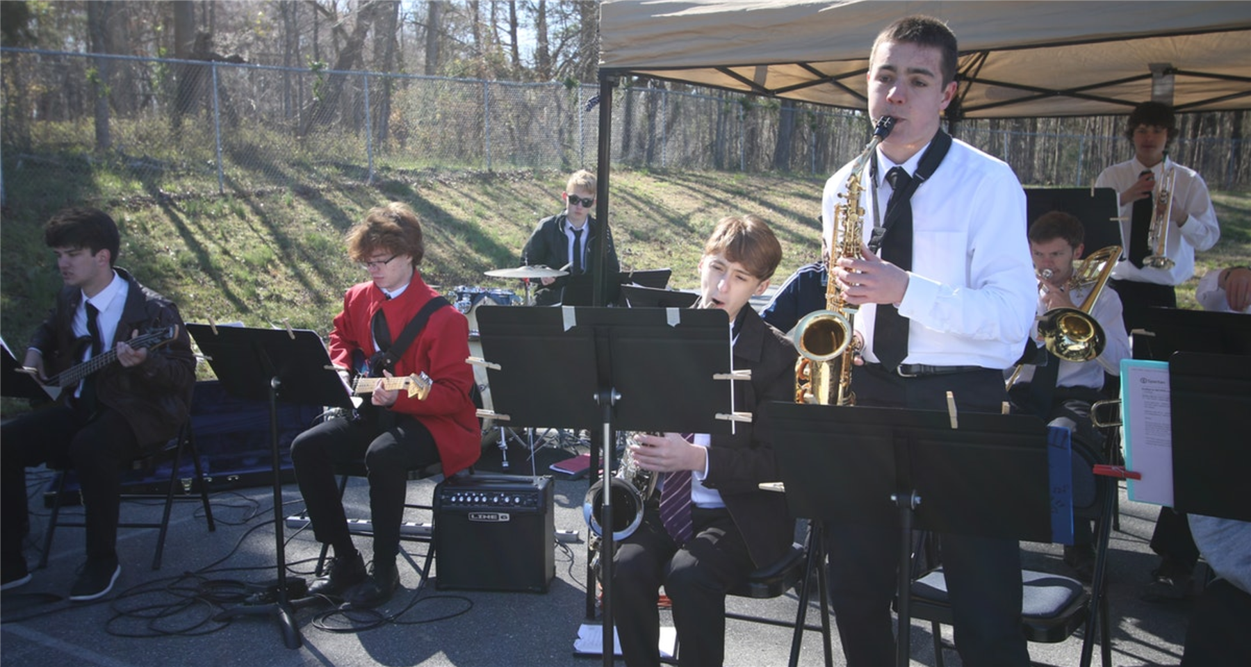 The Jordan Matthews High School Jazz Band performs at Siler City Elementary School on March 27, 2019.