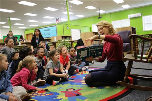 N.C. First Lady Kristin Cooper reads to first-graders at Pittsboro Elementary School March 2, 2018.