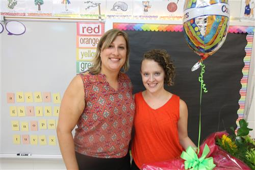 Virginia Cross Elementary School Principal Sarah Chicchi is with educator Maddie Allsup.