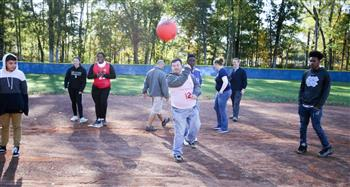 The district's inaugural kickball championship featured players  from Northwood and Jordan-Matthews.