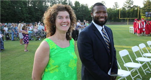 Chatham Central High School teacher Karen Heilman and Chatham Central alumnus Justin Palmer