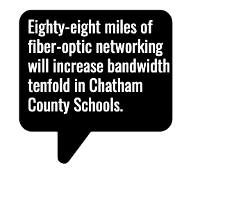 Eighty-eight miles of fiber-optic networking will increase bandwidth   tenfold in Chatham County Schools.