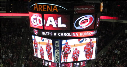 This is the Carolina Hurricanes' scoreboard.
