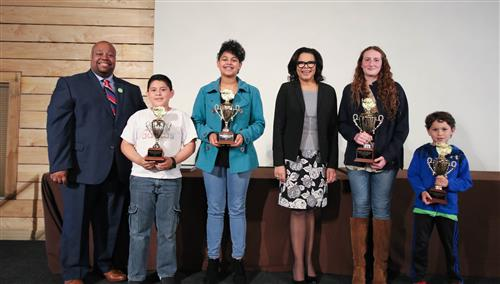 The district's top Young Authors competition gather with Supt. Dr. Derrick D. Jordan & NCDPI's Dr. Maria Pitre-Martin.