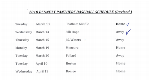 Baseball and Volleyball Schedule