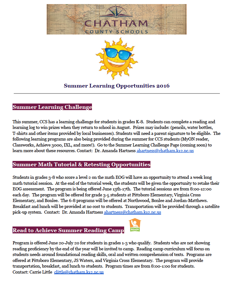 Summer Learning Opportunities 2016