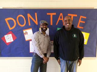 Don Tate with Principal Chris Poston photo