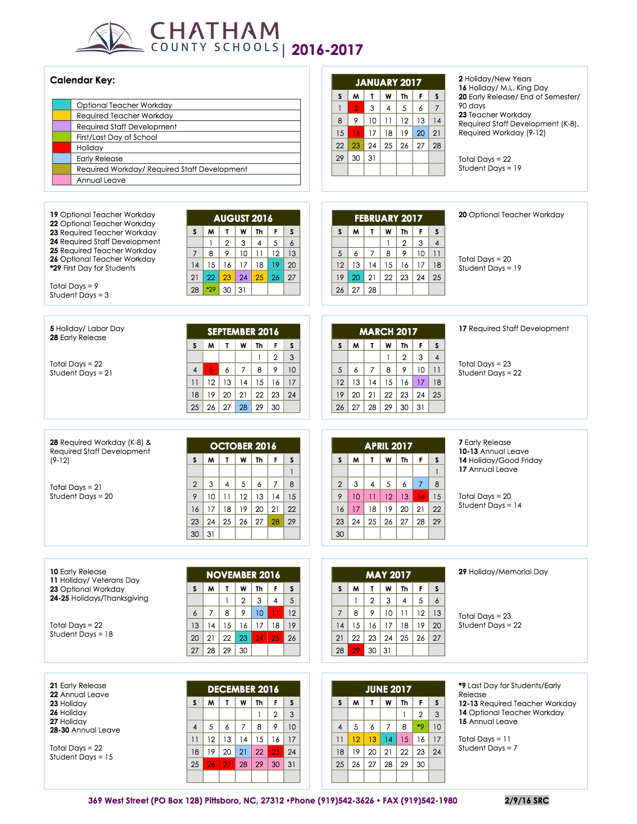 Year Calendar School : Chatham county schools homepage