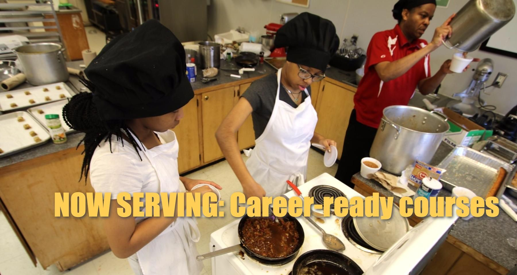 Culinary-arts students at Chatham Central High School prepare meals for the staff there.